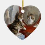 Arte lindo del vintage del gato del gatito ornamentos de reyes