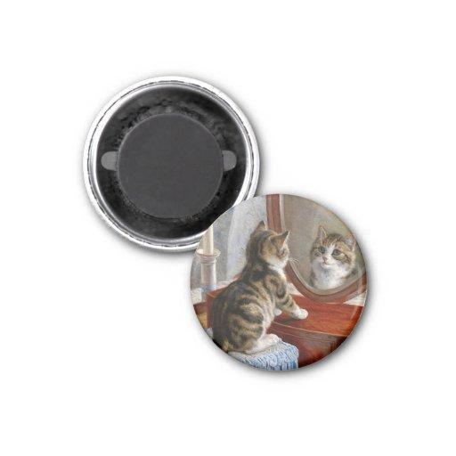Arte lindo del vintage del gato del gatito imán redondo 3 cm