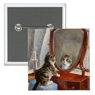Arte lindo del vintage del gato del gatito pin cuadrada 5 cm