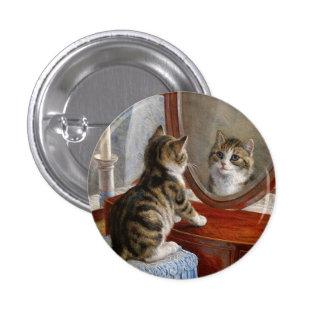 Arte lindo del vintage del gato del gatito pin redondo de 1 pulgada
