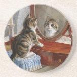 Arte lindo del vintage del gato del gatito posavasos diseño