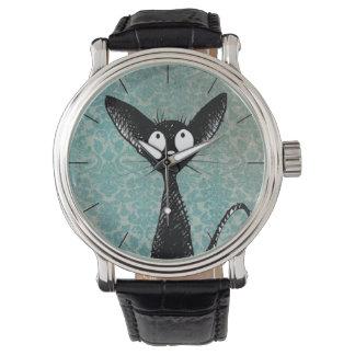 Arte lindo divertido del gato negro en el damasco reloj de mano