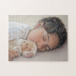 Arte lindo el dormir del perrito y de la niña del rompecabeza