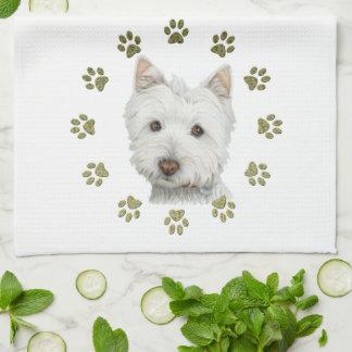Arte lindo y patas del perro de Westie Toallas De Mano