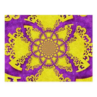Arte loco amarillo púrpura del fractal del modelo tarjeta postal