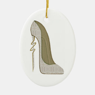 Arte loco del zapato del estilete del cordón del adorno navideño ovalado de cerámica