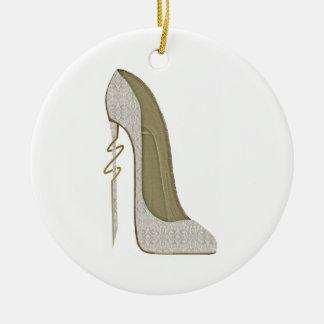 Arte loco del zapato del estilete del cordón del adorno navideño redondo de cerámica