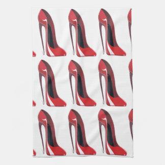 Arte loco rojo del zapato del estilete del talón toallas de mano