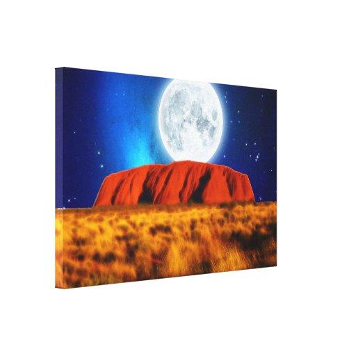 """Arte luna de Uluru"""" de la roca de Ayers de la """"del Impresión En Lienzo Estirada"""