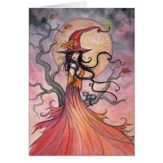 Arte mágico de Halloween de la bruja y del gato de Felicitacion