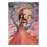 Arte mágico de Halloween de la bruja y del gato Tarjeta De Felicitación