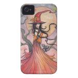 Arte mágico de la fantasía de la bruja y del gato  iPhone 4 cárcasa