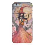 Arte mágico de la fantasía de la bruja y del gato funda de iPhone 6 barely there