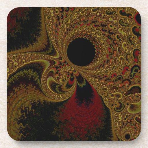 Arte magnífico del fractal del tono de la tierra posavasos de bebidas