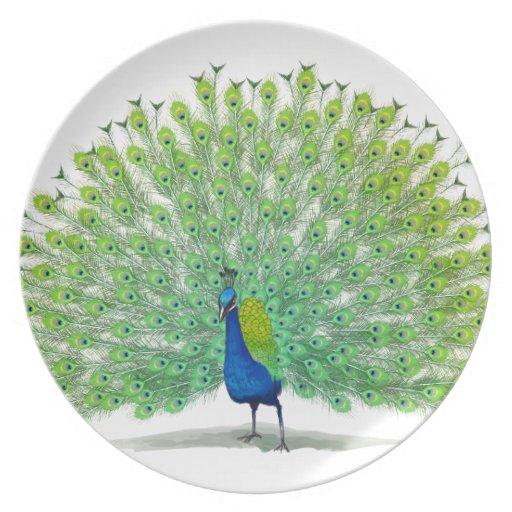 Arte magnífico del pavo real plato de cena