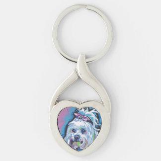 Arte maltés del perro del estallido llavero plateado en forma de corazón