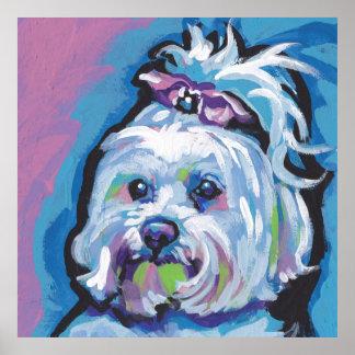 Arte maltés del perro del estallido póster