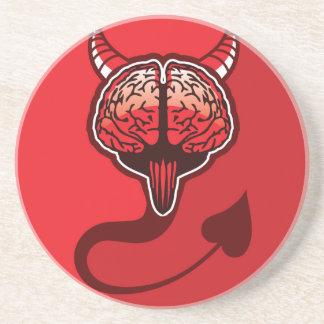 Arte malvado del vector del cerebro posavasos manualidades
