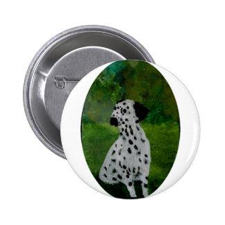 Arte manchado dálmata del perro pin redondo 5 cm
