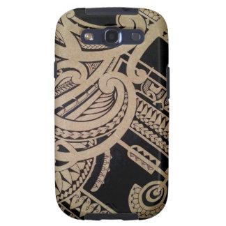 Arte maorí del tatuaje en la madera samsung galaxy s3 carcasas