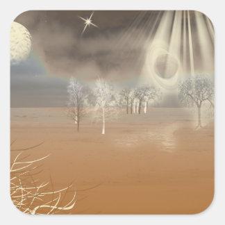 Arte marciano de Digitaces del paisaje Calcomanías Cuadradass