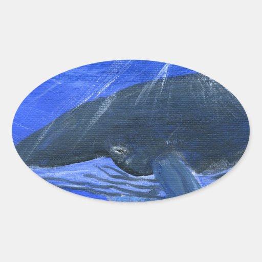 Arte marino Gunilla Wachtel de la ballena jorobada Pegatina Ovalada