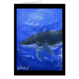 Arte marino Gunilla Wachtel de la ballena jorobada Tarjeta
