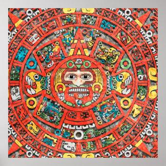 Arte maya del calendario póster