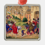 Arte medieval adorno cuadrado plateado