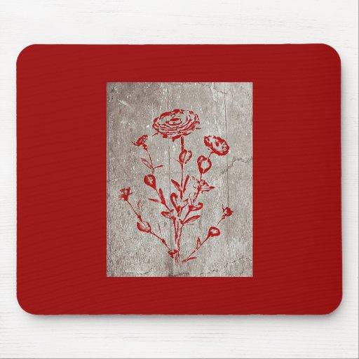 Arte medieval de la flor del Grunge rojo Alfombrillas De Raton