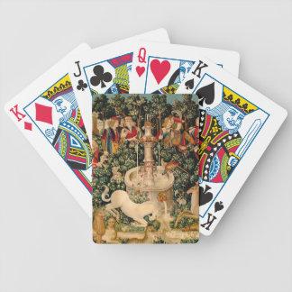 Arte medieval de las tapicerías del unicornio barajas de cartas