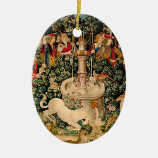 Arte medieval de las tapicerías del unicornio ornaments para arbol de navidad