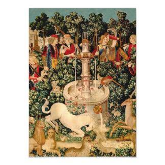 """Arte medieval de las tapicerías del unicornio invitación 4.5"""" x 6.25"""""""