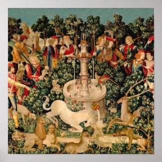 Arte medieval de las tapicerías del unicornio póster
