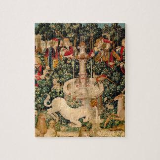 Arte medieval de las tapicerías del unicornio rompecabeza con fotos