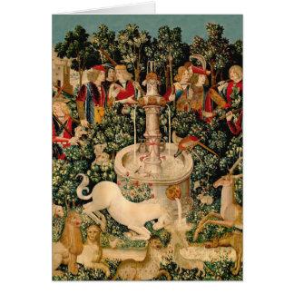 Arte medieval de las tapicerías del unicornio tarjeta de felicitación