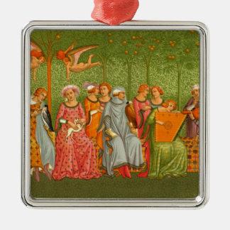 Arte medieval - el la de Le Songe de compite Adorno Cuadrado Plateado