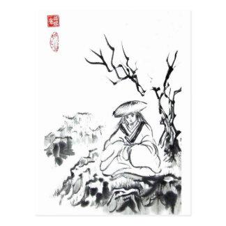 Arte Meditating del samurai Postal
