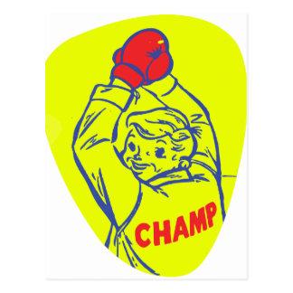 Arte menor retro del campeón del boxeo del kitsch postales