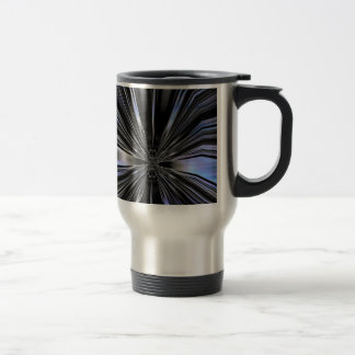 Arte metálico azul y negro de la mariposa taza térmica