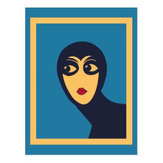 Arte mínimo del vector de la mujer retra del espac tarjetas postales