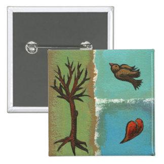 Arte minúsculo # 606 - árbol, pájaro, corazón - ar pin cuadrada 5 cm