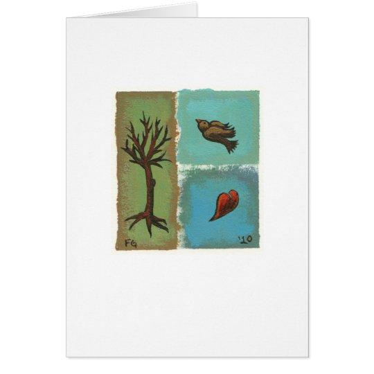 Arte minúsculo # 606 - árbol, pájaro, tarjeta de felicitación
