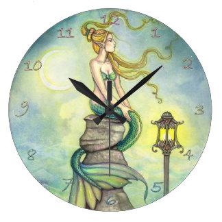 Arte místico de la fantasía de la sirena por Molly Relojes De Pared