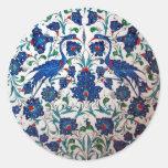 Arte mitológico de la teja del diseño del pájaro etiqueta redonda