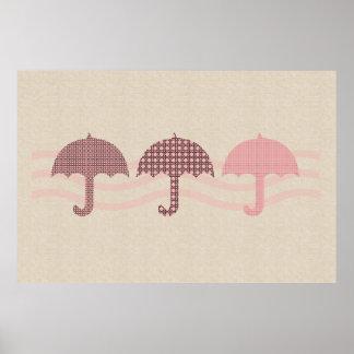 Arte moderno abstracto de la moda del paraguas póster