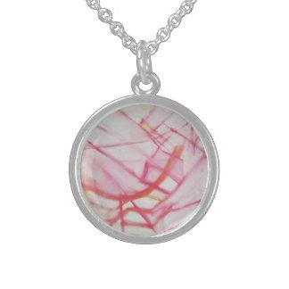 arte moderno abstracto rosado de la plata collares de plata esterlina
