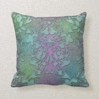 Arte moderno apenado del damasco púrpura verde del cojín decorativo