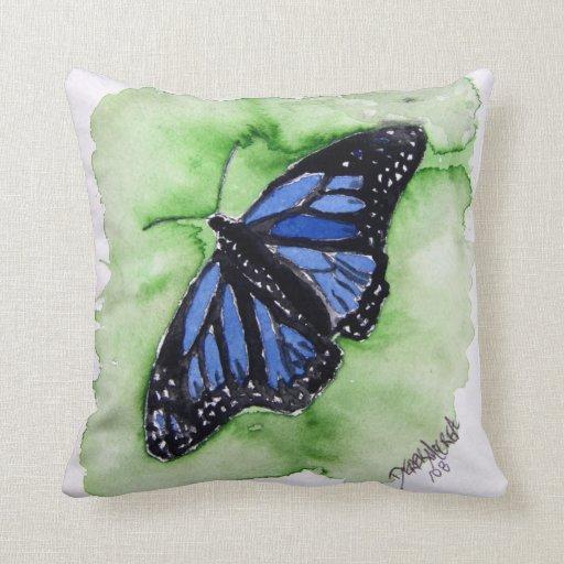 arte moderno azul y verde de la mariposa de monarc cojín