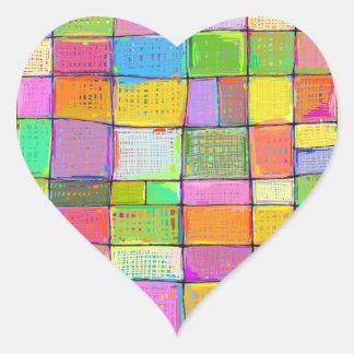 Arte moderno colorido del edredón de Digitaces que Pegatina En Forma De Corazón